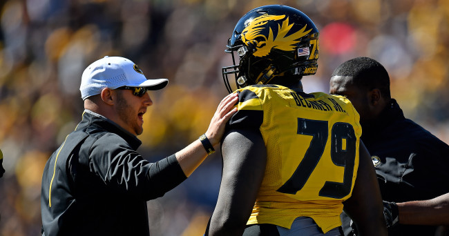Oct 3, 2015; Columbia, MO, USA; Missouri Tigers defensive lineman Terry Beckner Jr. (79) reacts after being disqualified from the game for targeting against the South Carolina Gamecocks during the first half at Faurot Field. Mandatory Credit: Jasen Vinlove-USA TODAY Sports