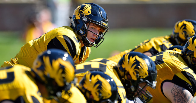Oct 3, 2015; Columbia, MO, USA; Missouri Tigers quarterback Drew Lock (3) looks over the offensive line against the South Carolina Gamecocks during the second half at Faurot Field. The Tigers won 24-10. Mandatory Credit: Jasen Vinlove-USA TODAY Sports