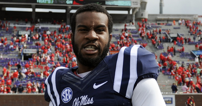 Oct 10, 2015; Oxford, MS, USA; Mississippi Rebels linebacker Denzel Nkemdiche (4) after the game against the New Mexico State Aggies at Vaught-Hemingway Stadium. Mississippi Rebels beats New Mexico State Aggies 52-3. Mandatory Credit: Justin Ford-USA TODAY Sports