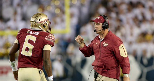 Oct 24, 2015; Atlanta, GA, USA; Florida State Seminoles head coach Jimbo Fisher talks with quarterback Everett Golson (6) during a timeout of the fourth quarter of their game against the Georgia Tech Yellow Jackets at Bobby Dodd Stadium. Georgia Tech won 22-16. Mandatory Credit: Jason Getz-USA TODAY Sports