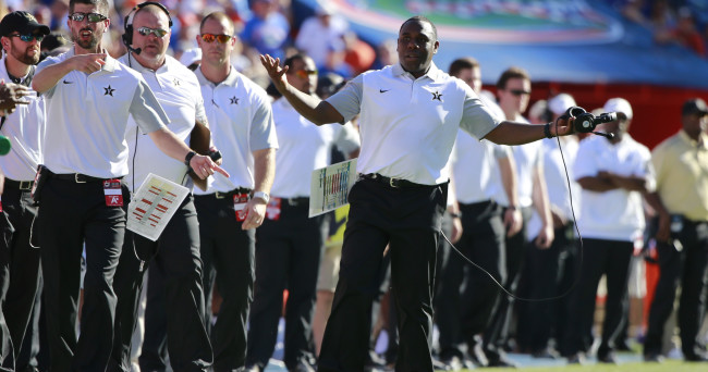 Nov 7, 2015; Gainesville, FL, USA; Vanderbilt Commodores head coach Derek Mason reacts against the Florida Gators during the second half at Ben Hill Griffin Stadium. Florida Gators defeated the Vanderbilt Commodores 9-7. Mandatory Credit: Kim Klement-USA TODAY Sports