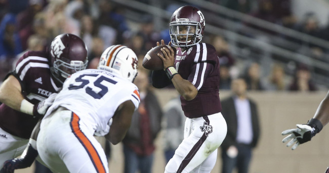 Nov 7, 2015; College Station, TX, USA; Texas A&M Aggies quarterback Kyler Murray (1) prepares to throw the ball during the second quarter against the Auburn Tigers at Kyle Field. Mandatory Credit: Troy Taormina-USA TODAY Sports