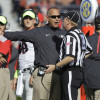 Nov 14, 2015; Auburn, AL, USA; Georgia Bulldogs head coach Mark Richt talks to an official during the third quarter against the Auburn Tigers at Jordan Hare Stadium.  The Bulldogs beat the Tigers 20-13. Mandatory Credit: John Reed-USA TODAY Sports