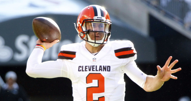 Nov 15, 2015; Pittsburgh, PA, USA; Cleveland Browns quarterback Johnny Manziel (2) passes the ball against the Pittsburgh Steelers during the first quarter at Heinz Field. Mandatory Credit: Charles LeClaire-USA TODAY Sports
