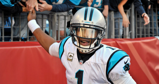 Nov 15, 2015; Nashville, TN, USA; Carolina Panthers quarterback Cam Newton (1) celebrates with fans after scoring a touchdown against the Tennessee Titans during the second half at Nissan Stadium. Carolina won 27-10. Mandatory Credit: Jim Brown-USA TODAY Sports
