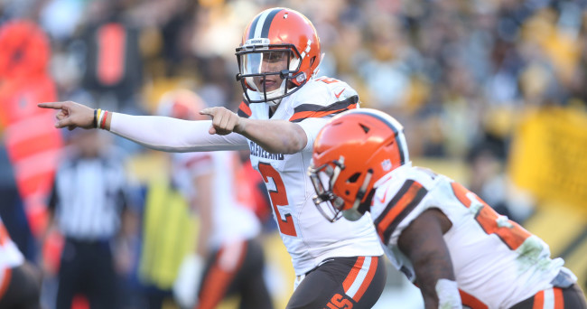 Nov 15, 2015; Pittsburgh, PA, USA; Cleveland Browns quarterback Johnny Manziel (2) gestures at the line of scrimmage against the Pittsburgh Steelers during the fourth quarter at Heinz Field. The Steelers won 30-9. Mandatory Credit: Charles LeClaire-USA TODAY Sports