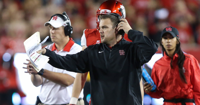 Nov 14, 2015; Houston, TX, USA; Houston Cougars head coach Tom Herman reacts after a play during a game against the Memphis Tigers at TDECU Stadium. Mandatory Credit: Troy Taormina-USA TODAY Sports