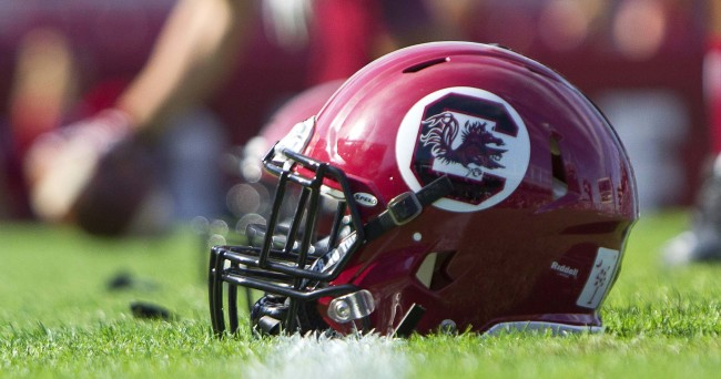 Nov 28, 2015; Columbia, SC, USA; A South Carolina Gamecocks helmet on the field prior to the game against the Clemson Tigers at Williams-Brice Stadium. Mandatory Credit: Joshua S. Kelly-USA TODAY Sports