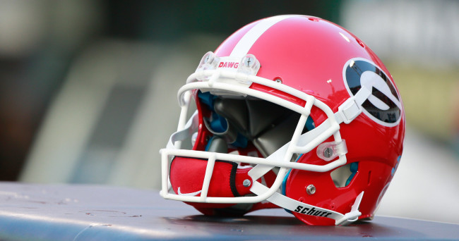 Oct 31, 2015; Jacksonville, FL, USA; Georgia Bulldogs helmet lays on the bench during the second half  against the Florida Gators at  EverBank Stadium. Florida Gators defeated the Georgia Bulldogs 27-3. Mandatory Credit: Kim Klement-USA TODAY Sports