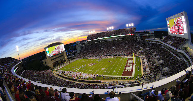 Nov 14, 2015; Starkville, MS, USA; A general view of Davis Wade Stadium during a game between the Mississippi State Bulldogs and Alabama Crimson Tide game. The Crimson Tide defeated the Bulldogs 31-6. Mandatory Credit: Marvin Gentry-USA TODAY Sports