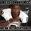 Johnny Interception Problem MEME