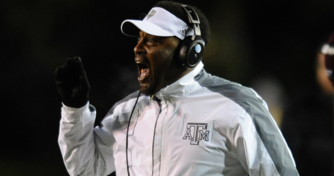 Nov 21, 2015; Nashville, TN, USA; Texas A&M Aggies head coach Kevin Sumlin during the second half against the Vanderbilt Commodores at Vanderbilt Stadium. The Aggies won 25-0. Mandatory Credit: Christopher Hanewinckel-USA TODAY Sports