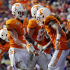 Jan 1, 2016; Tampa, FL, USA;Tennessee Volunteers running back Jalen Hurd (1) is congratulated by teammates as he scores a touchdown against the Northwestern Wildcats during the second half in the 2016 Outback Bowl at Raymond James Stadium. Mandatory Credit: Kim Klement-USA TODAY Sports