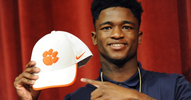 Feb 3, 2016; Coconut Creek, FL, USA; Coconut Creek High School cornerback Trayvon Mullen with his Clemson University hat during national signing day at Coconut Creek High School. Mandatory Credit: Robert Duyos-USA TODAY Sports