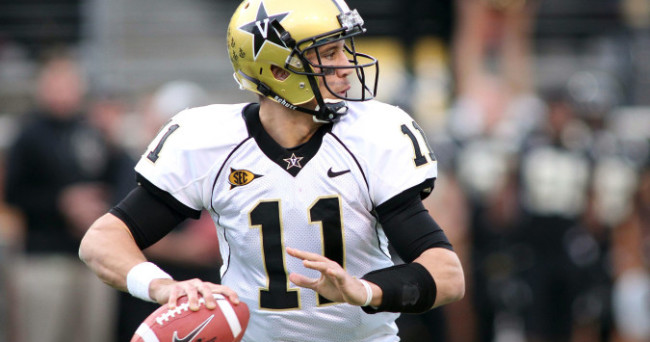Nov 26, 2011; Winston-Salem, NC, USA; Vanderbilt Commodores quarterback Jordan Rodgers (11) throws a pass during the second quarter against the Wake Forest Demon Deacons at BB&T Field. Mandatory Credit: Jeremy Brevard-USA TODAY Sports