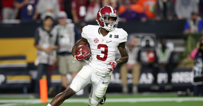 Jan 11, 2016; Glendale, AZ, USA; Alabama Crimson Tide receiver Calvin Ridley (3) carries the ball against the Clemson Tigers in the 2016 CFP National Championship at University of Phoenix Stadium. Mandatory Credit: Matthew Emmons-USA TODAY Sports