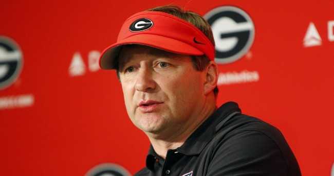 Apr 16, 2016; Athens, GA, USA; Georgia Bulldogs head coach Kirby Smart talks to the press after the spring game at Sanford Stadium. The Black team defeated the Red team 34-14. Mandatory Credit: Brett Davis-USA TODAY Sports