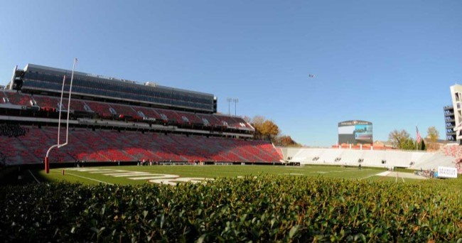 November 17, 2012; Athens, GA, USA; A general view of the field looking over the hedges prior to the game between the Georgia Bulldogs and the Georgia Southern Eagles at Sanford Stadium. Mandatory Credit: Dale Zanine-USA TODAY Sports