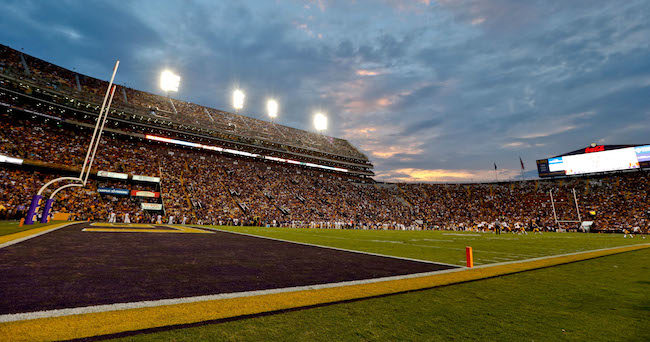 Sep 27, 2014; Baton Rouge, LA, USA; A general view during the first quarter of a game between the LSU Tigers and the New Mexico State Aggies at Tiger Stadium. Mandatory Credit: Derick E. Hingle-USA TODAY Sports