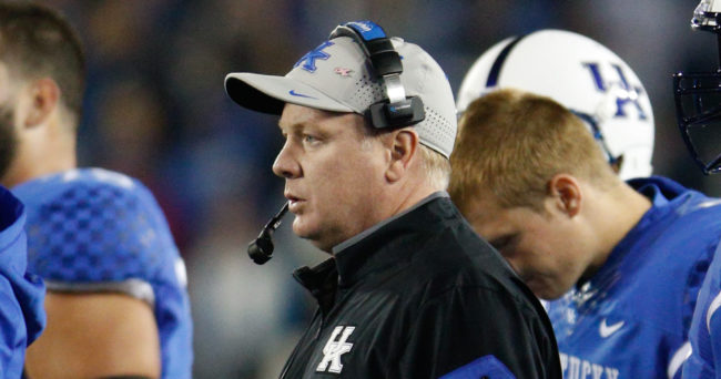 Oct 3, 2015; Lexington, KY, USA; Kentucky Wildcats head coach Mark Stoops looks on during the game against the Eastern Kentucky Colonels at Commonwealth Stadium. Kentucky defeated Eastern Kentucky 34-27 in overtime. Mandatory Credit: Mark Zerof-USA TODAY Sports
