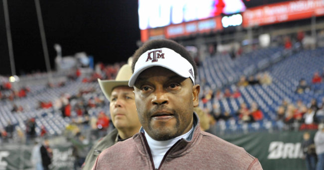 Dec 30, 2015; Nashville, TN, USA;  Texas A&M Aggies head coach Kevin Sumlin prior to the 2015 Music City Bowl against the Louisville Cardinals at Nissan Stadium. Mandatory Credit: Jim Brown-USA TODAY Sports