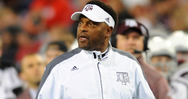 Dec 30, 2015; Nashville, TN, USA; Texas A&M Aggies head coach Kevin Sumlin disagrees with a call during the second half against the Louisville Cardinals in the 2015 Music City Bowl at Nissan Stadium. Mandatory Credit: Christopher Hanewinckel-USA TODAY Sports