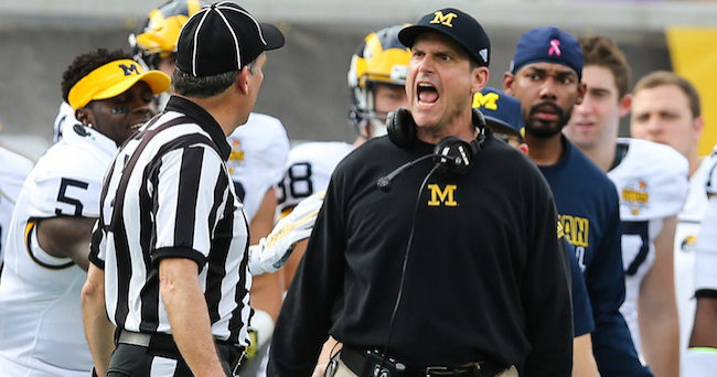 Jan 1, 2016; Orlando, FL, USA; Michigan Wolverines head coach Jim Harbaugh reacts to a call during the second half in the 2016 Citrus Bowl at Orlando Citrus Bowl Stadium. The Wolverines win 41-7 over Florida to claim the Citrus Bowl Championship. Mandatory Credit: Jim Dedmon-USA TODAY Sports