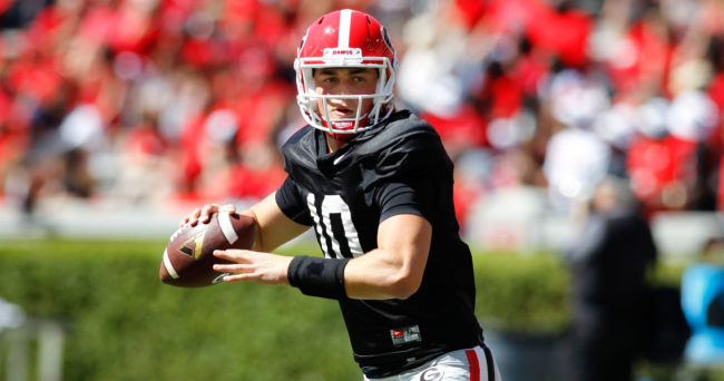 Apr 16, 2016; Athens, GA, USA; Georgia Bulldogs quarterback Jacob Eason (10) throws before the spring game at Sanford Stadium. Mandatory Credit: Brett Davis-USA TODAY Sports