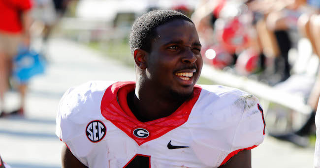 Apr 16, 2016; Athens, GA, USA; Georgia Bulldogs running back Sony Michel (1) on the sideline during the second half of the spring game at Sanford Stadium. The Black team defeated the Red team 34-14. Mandatory Credit: Brett Davis-USA TODAY Sports
