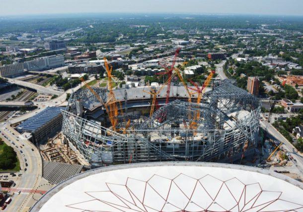Photos new mercedes benz stadium continues to progress for Who owns mercedes benz stadium