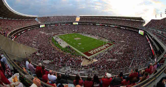 Oct 10, 2015; Tuscaloosa, AL, USA; A general view of Bryant-Denny Stadium during the game between the Alabama Crimson Tide and Arkansas Razorbacks. Mandatory Credit: Marvin Gentry-USA TODAY Sports