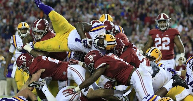Fournette (Jumping over Alabama pile) Marvin Gentry-USA TODAY Sports
