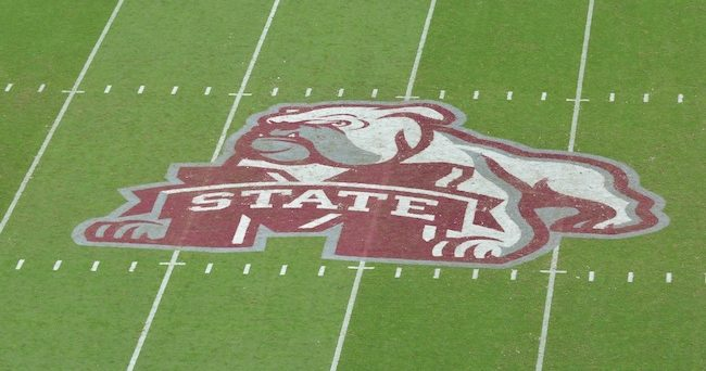 Oct 10, 2015; Starkville, MS, USA; The Mississippi State Bulldogs logo on the field as the Mississippi State Bulldogs hosted the Troy Trojans at Davis Wade Stadium. Mississippi State won 17 - 45. Mandatory Credit: Matt Bush-USA TODAY Sports
