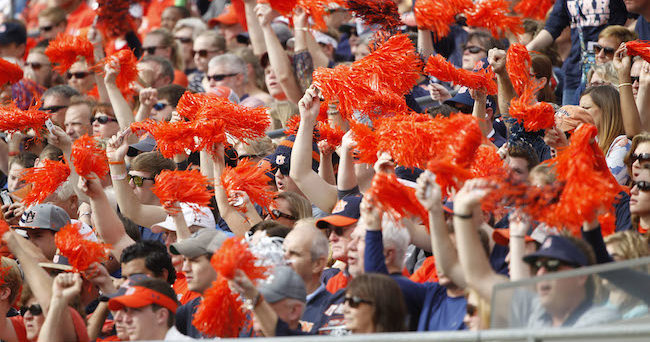 Jan 1, 2015; Tampa, FL, USA; Auburn Tigers fans wave pom-poms in the stands during the second half in the 2015 Outback Bowl against the Wisconsin Badgers at Raymond James Stadium. Wisconsin Badgers defeated the Auburn Tigers 34-31 in overtime. Mandatory Credit: Kim Klement-USA TODAY Sports