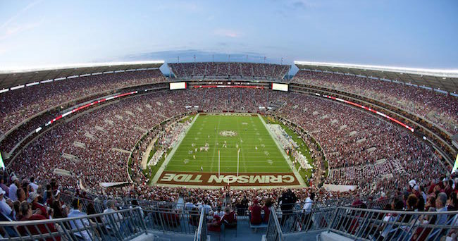 Sep 13, 2014; Tuscaloosa, AL, USA; a general view of Bryant-Denny Stadium during the game between the Alabama Crimson Tide and Southern Miss Golden Eagles. Mandatory Credit: Marvin Gentry-USA TODAY Sports