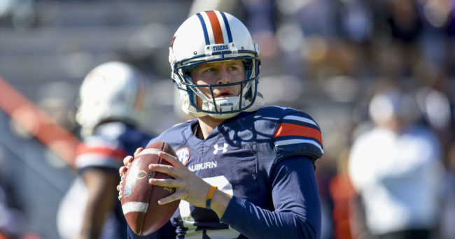 Nov 14, 2015; Auburn, AL, USA; Auburn Tigers quarterback Sean White (13) warms up prior to the game against the Georgia Bulldogs at Jordan Hare Stadium. Mandatory Credit: Shanna Lockwood-USA TODAY Sports