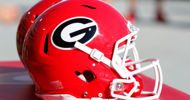 Apr 16, 2016; Athens, GA, USA; Detailed view of a Georgia Bulldogs helmet on the sidelines during the second half of the spring game at Sanford Stadium. The Black team defeated the Red team 34-14. Mandatory Credit: Brett Davis-USA TODAY Sports