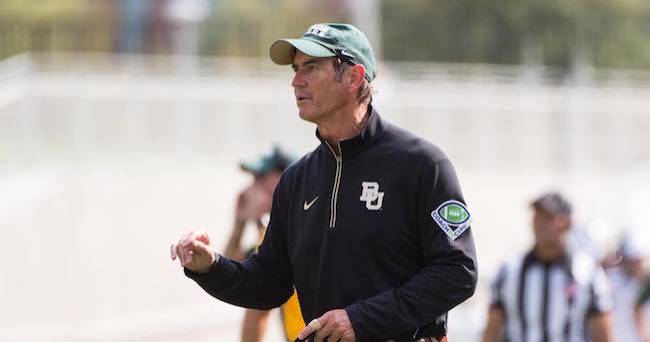 Sep 26, 2015; Waco, TX, USA; Baylor Bears head coach Art Briles motions to his team during the second quarter against the Rice Owls at McLane Stadium. Mandatory Credit: Jerome Miron-USA TODAY Sports