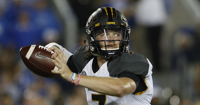 Sep 26, 2015; Lexington, KY, USA; Missouri Tigers quarterback Maty Mauk (7) passes the ball against the Kentucky Wildcats in the first half at Commonwealth Stadium. Mandatory Credit: Mark Zerof-USA TODAY Sports