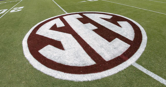 Sep 3, 2016; College Station, TX, USA; The SEC logo on the field prior to a game between the Texas A&M Aggies and the UCLA Bruins at Kyle Field. Texas A&M won in overtime 31-24. Mandatory Credit: Ray Carlin-USA TODAY Sports