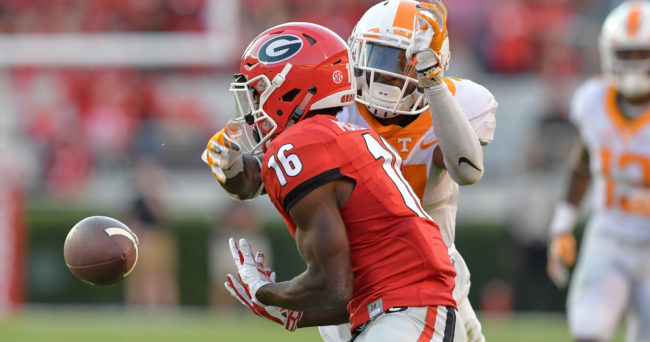 Oct 1, 2016; Athens, GA, USA; Tennessee Volunteers defensive back Rashaan Gaulden (7) defends on a pass intended for Georgia Bulldogs wide receiver Isaiah McKenzie (16) during the fourth quarter at Sanford Stadium. Tennessee defeated Georgia 34-31. Mandatory Credit: Dale Zanine-USA TODAY Sports