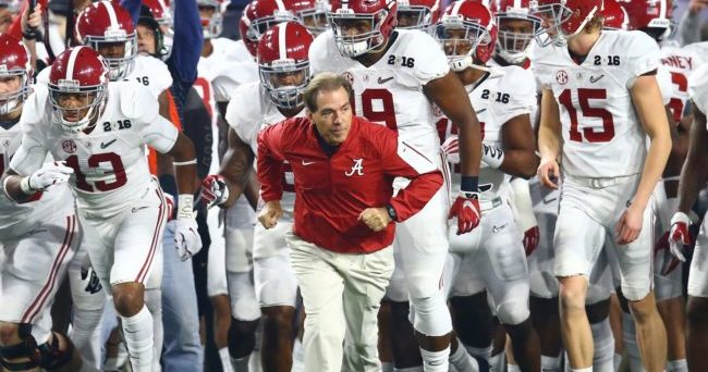 Jan 11, 2016; Glendale, AZ, USA; Alabama Crimson Tide head coach Nick Saban leads his players onto the field prior to the game against the Clemson Tigers in the 2016 CFP National Championship at University of Phoenix Stadium. Mandatory Credit: Mark J. Rebilas-USA TODAY Sports