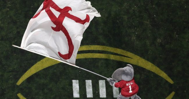 Jan 11, 2016; Glendale, AZ, USA; Alabama Crimson Tide mascot waves the flag after a touchdown over Clemson Tigers during the first half in the 2016 CFP National Championship at University of Phoenix Stadium. Mandatory Credit: Erich Schlegel-USA TODAY Sports