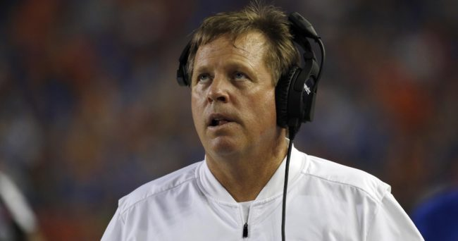 Sep 17, 2016; Gainesville, FL, USA; Florida Gators head coach Jim McElwain looks on against the North Texas Mean Green during the first quarter at Ben Hill Griffin Stadium. Mandatory Credit: Kim Klement-USA TODAY Sports