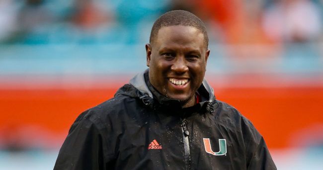 Nov 21, 2015; Miami Gardens, FL, USA; Miami Hurricanes interim head coach Larry Scott reacts during the second half against the Georgia Tech Yellow Jackets at Sun Life Stadium. Mandatory Credit: Steve Mitchell-USA TODAY Sports
