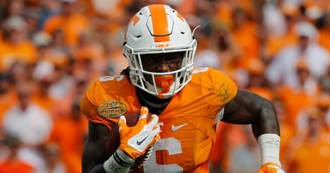 Jan 1, 2016; Tampa, FL, USA; Tennessee Volunteers running back Alvin Kamara (6) runs with the ball against the Northwestern Wildcats during the first half in the 2016 Outback Bowl at Raymond James Stadium. Mandatory Credit: Kim Klement-USA TODAY Sports