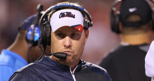 Oct 15, 2016; Fayetteville, AR, USA;  Ole Miss Rebels head coach Hugh Freeze during the second half against the Arkansas Razorbacks at Donald W. Reynolds Razorback Stadium. Arkansas defeated Ole Miss 34-30. Mandatory Credit: Nelson Chenault-USA TODAY Sports