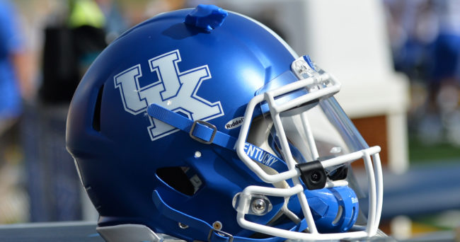 Oct 29, 2016; Columbia, MO, USA; A general view of the Kentucky Wildcats helmet during the first half against the Missouri Tigers at Faurot Field. Mandatory Credit: Denny Medley-USA TODAY Sports
