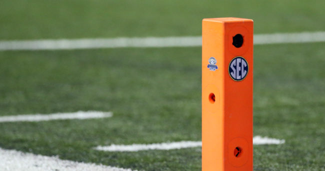 Dec 3, 2016; Atlanta, GA, USA; View of a pylon with the SEC logo during the first quarter of the SEC Championship college football game between the Alabama Crimson Tide and the Florida Gators at Georgia Dome. Mandatory Credit: Jason Getz-USA TODAY Sports