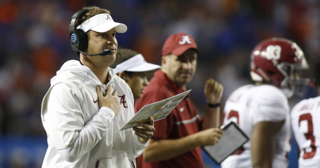 Dec 3, 2016; Atlanta, GA, USA; Alabama Crimson Tide offensive coordinator Lane Kiffin reacts during the fourth quarter of the SEC Championship college football game against the Florida Gators at Georgia Dome. Mandatory Credit: Brett Davis-USA TODAY Sports